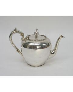 Zilveren theepot, model parelrand, 1891
