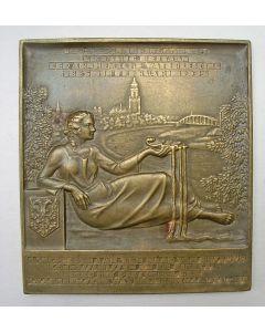 Plaquettepenning ter gelegenheid van het 50-jarig bestaan van de Arnhemsche Waterleiding, 1935