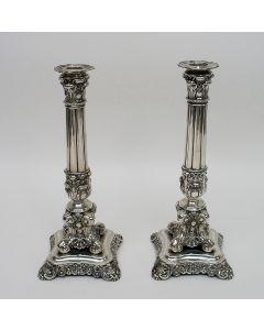 Stel classicistische zilveren kandelaars, Duitsland ca. 1830