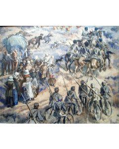 Gerard Westermann, 'Legermanoeuvres bij Best, 1914/1918', aquarel