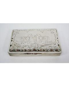 Zilveren tabaksdoos, gegraveerd met rijpaarden, C. Monteban, Schoonhoven [1860]