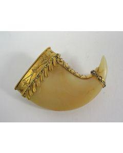 Broche van tijgerklauw, in gouden montuur, 19e eeuw
