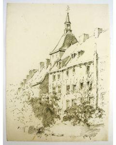 Bernard Coesel, Muurhuizen Amersfoort, potloodtekening, ca. 1920