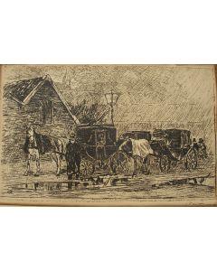 Willem de Zwart, 'Koetsjes in de regen', ets
