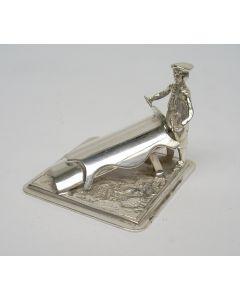 Zilveren miniatuur, leerlooier
