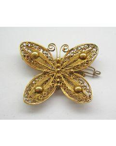 Filigrain gouden vlinderbroche