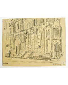 H.D. Schild, de Schotse Huizen in Veere, potloodtekening