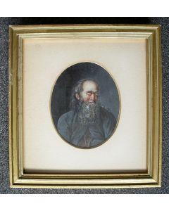 Portretminiatuur op ivoor, man met baard