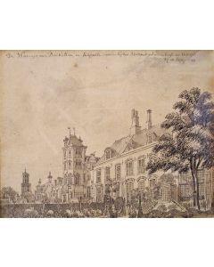 Jan de Beijer, stadsgezicht Utrecht, sepiatekening, 1744
