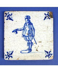 Figuurtegel, man met hoed, 17e eeuw