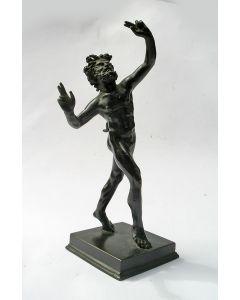 Classicistisch bronzen beeld, Dansende Faun, 19e eeuw