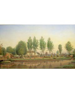 Landhuis aan het water, aquarel, 19e eeuw