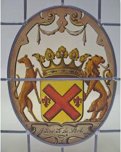 Familiewapen André de la Porte, gebrandschilderd glas