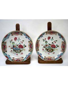 Stel famille rose borden, 18e eeuw