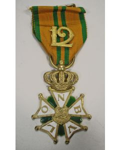 NBVLO Kruis voor Marsvaardigheid (Vierdaagsekruis), in verguld zilver voor 12 deelnames