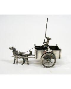 Zilveren miniatuur, hondenkar, 19e eeuw