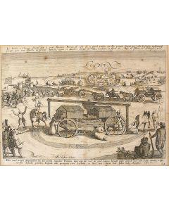 Kopergravure, de belegering van Lochem door Spinola en de door paarden aangedreven meelwagens in zijn leger, 1606