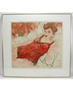 Marcel Schellekens, 'Liggende vrouw', kleurenets, 1984