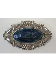 Zilveren broche met lapis lazuli, Art Deco