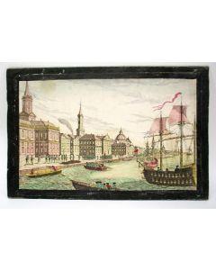 Opticaprent met illuminatie, De landing van de Engelse troepen in New York [1776]