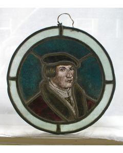 Gebrandschilderd glazen raamhanger met portret