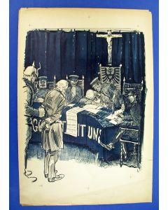 Jan Sluijters, politieke voorstelling Eerste Wereldoorlog, litho, 1918