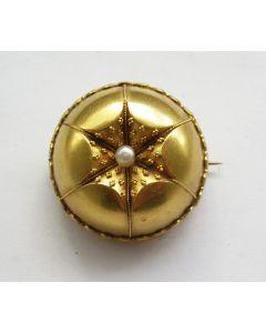Gouden broche met pareltje, 19e eeuw