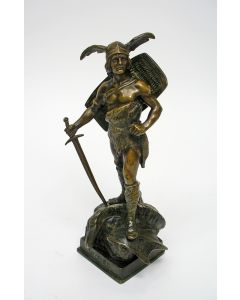 R. Besserdich, bronzen sculptuur, 'Siegfried', ca. 1900