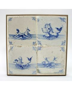 Vierpas van tegels met zeewezens, ca. 1700