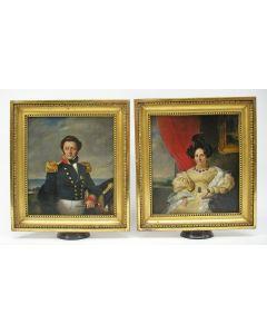 Lodewijk Vintcent, portretten van een Marineofficier en zijn echtgenote, 1832