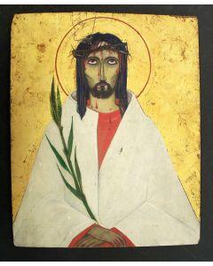 Christus Man van Smarten, paneel, ca. 1920, gemonogrammeerd 'R'.