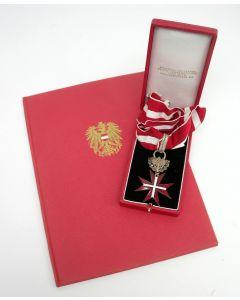 Het Grote Zilveren Ereteken voor Verdienste voor de Republiek Oostenrijk, met oorkonde