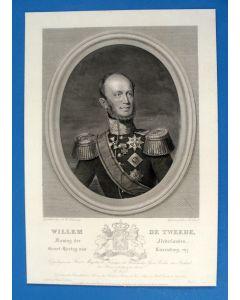B. Taurel naar J.A. Kruseman, portret van Koning Willem II. gravure, ca. 1840