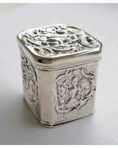 Zilveren lodereindoosje met de Vier Jaargetijden, Christoffel Woortman, Amsterdam, 1793