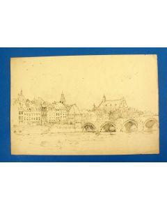Bernard Coesel, Stadsgezicht Maastricht, potloodtekening ca. 1920
