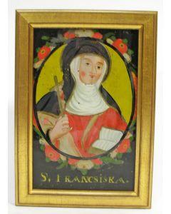 Achterglasschildering, heilige Francisca