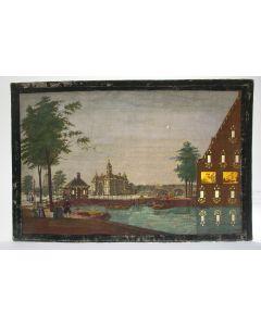 Opticaprent met illuminatie, De Leidsepoort te Amsterdam, 18e eeuw