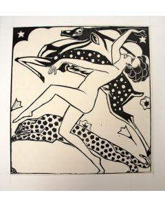 Johan Polet, 'Dans', houtsnede, 1919