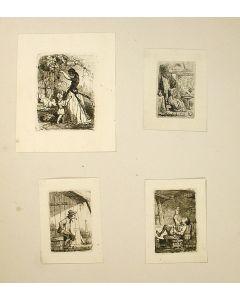 Cornelius Seghers, vier etsen, genrevoorstellingen, ca. 1840