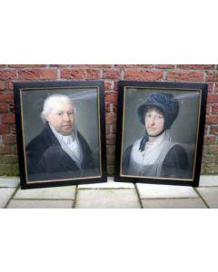 Theodoor Bohres, portretten van een echtpaar, ca. 1820