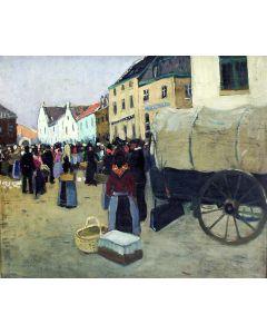 Raoul Hynckes, 'De markt in Gulpen', olieverf, 1922