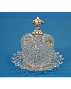 Kristallen confiturepot met zilveren knop, 19e eeuw
