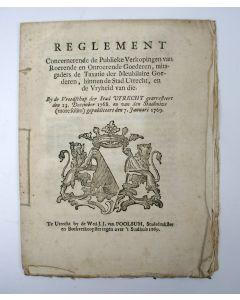 Reglement op de Publieke Verkopingen en Taxaties, Utrecht 1769