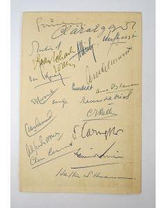 Schutblad met handtekeningen van Nederlandse schrijvers  [1948]
