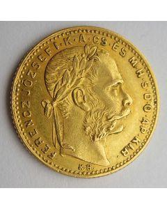 Hongarije, 8 forint / 20 francs, 1885