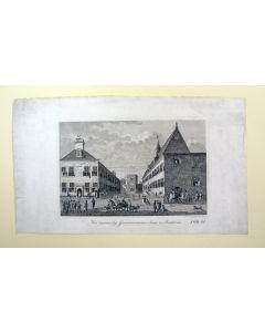 'Het voormalig Gouvernements-huis te Batavia', gravure door D. Veelwaard, 1827