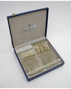 10 zilveren viscouverts in cassette, model Hollands Glad, 1951 [visbestek]