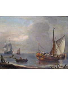 Aernout Smit, 'Schepen voor de kust', olieverf op paneel, 17e eeuw