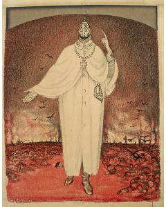 Jan Sluijters, karikatuur van Keizer Wilhelm II, litho, 1915