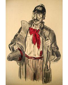 Jan Sluijters, karikatuur van P.J. Troelstra, litho, ca. 1918